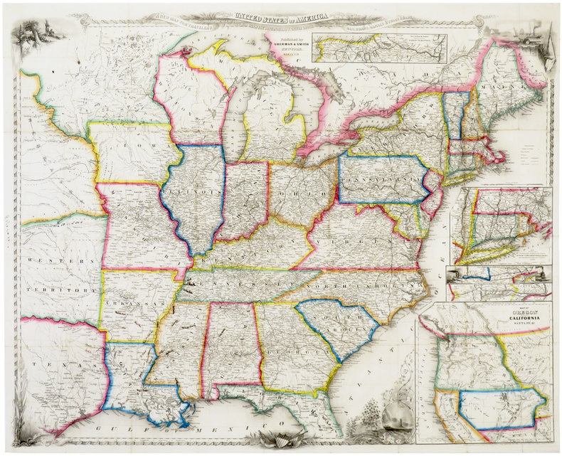 A new map for travelers through the United States of America showing the railroads, canals & stage roads, with the distances.. SMITH (John Calvin).