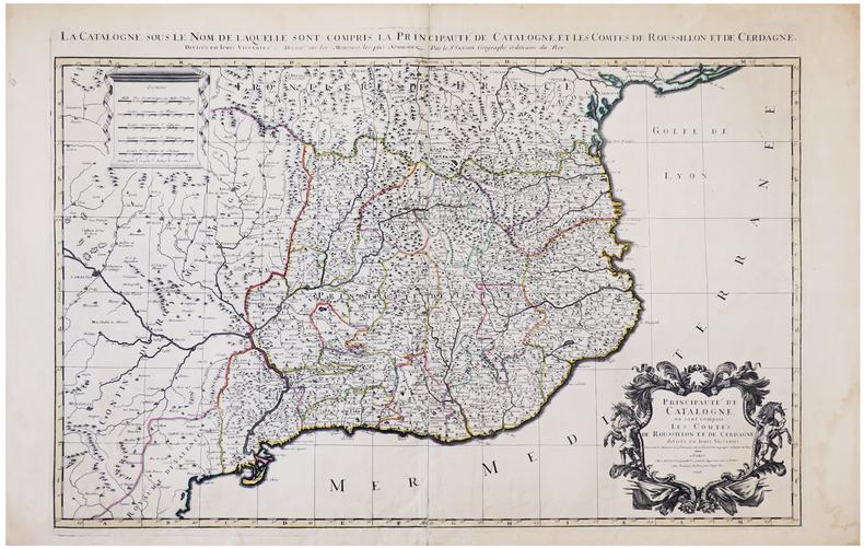 [CATALOGNE] Principauté de Catalogne où sont compris les comtés de Roussillon et de Cerdagne divisés en leurs vigueries.. SANSON d'ABBEVILLE ...