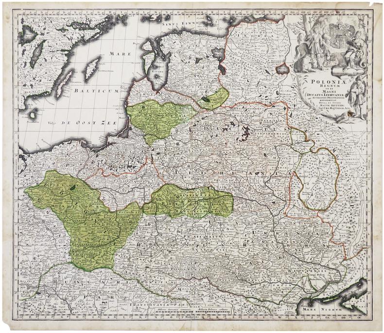 [POLOGNE/LITUANIE] Poloniæ regnum ut et Magni Ducatus Lithuaniæ.. SEUTTER (Matthäus).