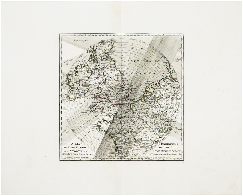 A Map exhibiting the dark shadow of the Moon over England and other parts of Europe, in the five great solar eclipses, of the years 1715, 1724, 1737, ...