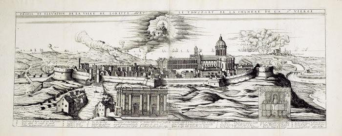 [LORETO] Profil et élévation de la ville de Lorette avec le transport de la chambre de la Ste Vierge.. BOISSEAU (Jean).