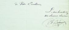 Lettre signée à Joseph de Villèle, avec une apostille autographe signée de ce dernier.. BELANGER (Charles).