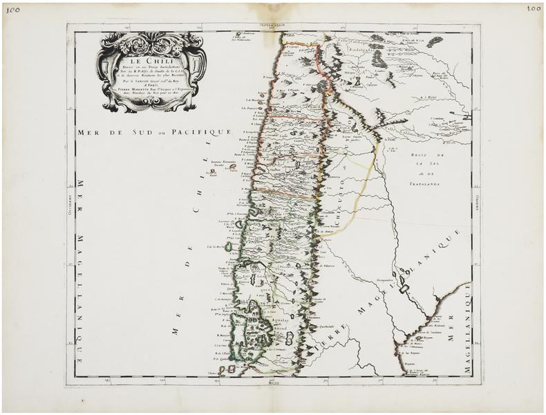 [CHILI] Le Chili divisé en ses treize jurisdictions.. SANSON d'ABBEVILLE (Nicolas).