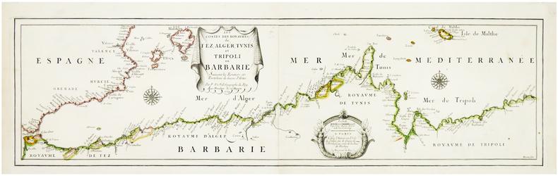 Les costes des royaumes de Fez, Alger, Tunis, et Tripoli en Barbarie suivant les routiers et portolans de divers pilotes.. DUVAL (Pierre).