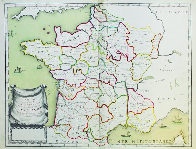 Carte pour la concorde de la géographie des provinces et des départements de la France.. [ANONYME].