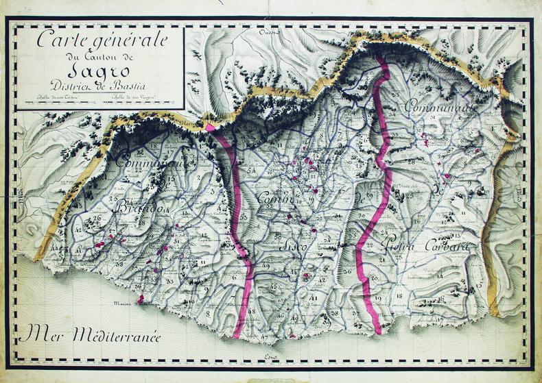 Carte générale du canton de Sagro, district de Bastia.. [ANONYME].