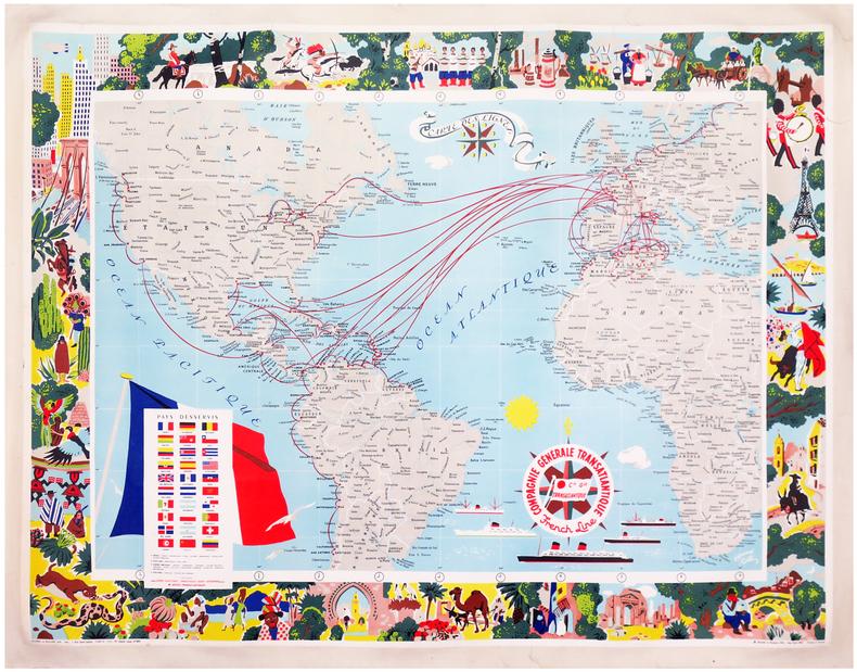 Carte des lignes. Compagnie Générale Transatlantique. French line.. BLONDEL LA ROUGERY (Max).