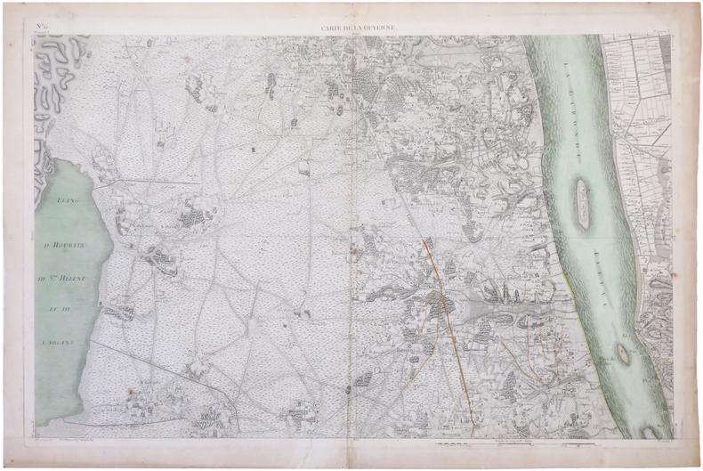 [MÉDOC] Carte de la Guyenne [dite Carte de Belleyme]. Feuille n°12 (Blaye, Fort Médoc, Pauillac).. BELLEYME (Pierre de).