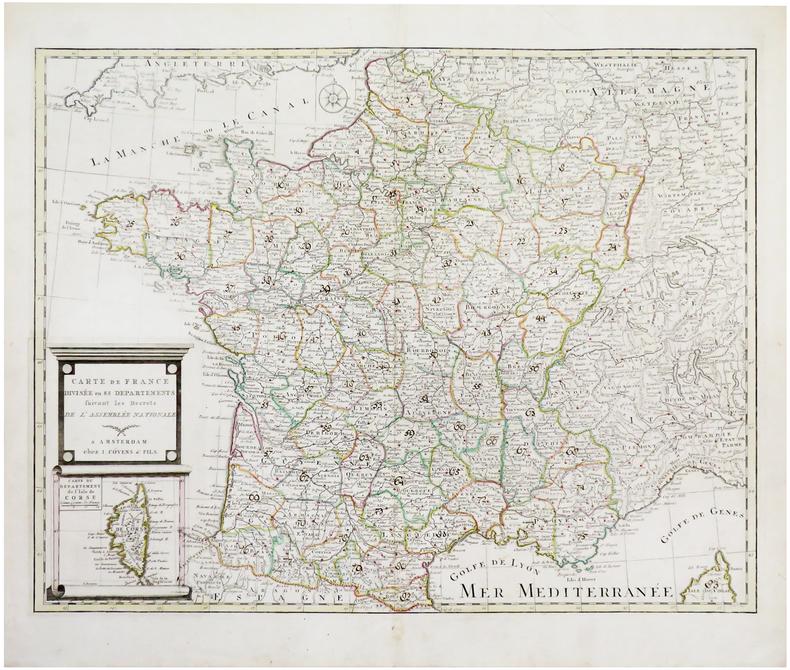 Carte de France divisée en 83 départements suivant les décrets de l'Assemblée Nationale.. J. COVENS & FILS.