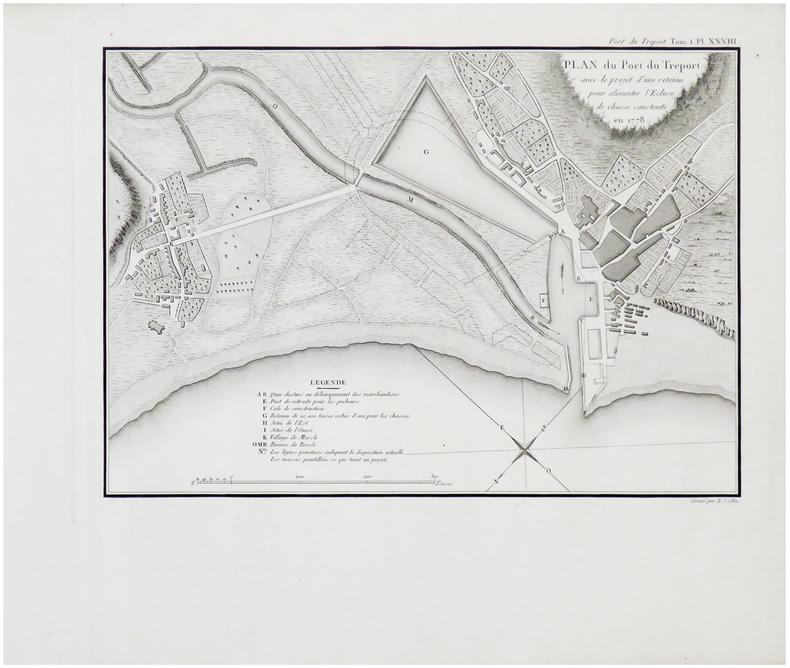 [LE TRÉPORT] Plan du port du Tréport avec le projet d'une retenue pour alimenter l'écluse de chasse construite en 1778.. CESSART (Louis Alexandre ...