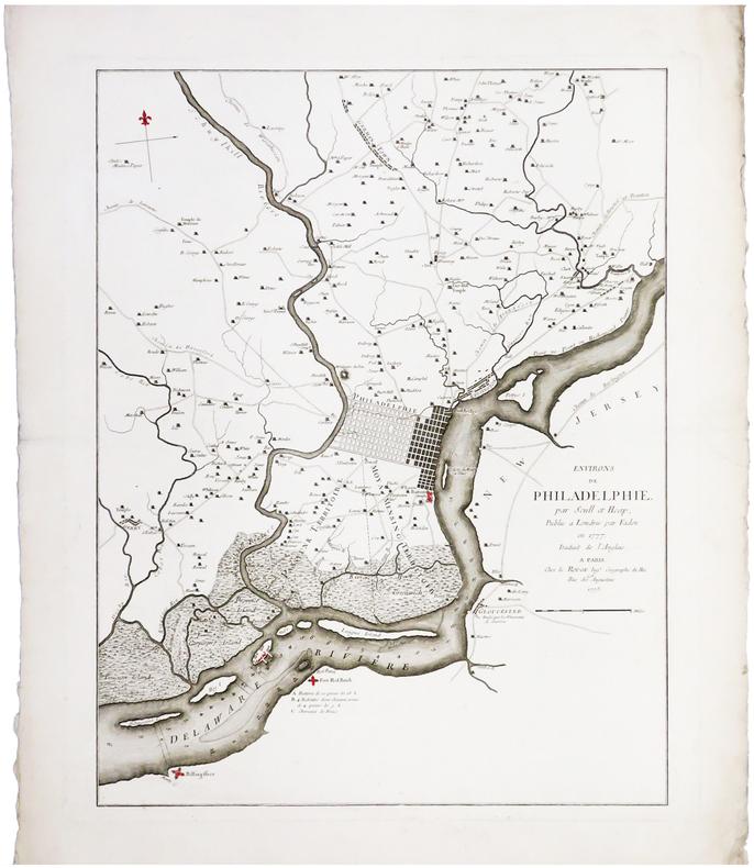 [PHILADELPHIE] Environs de Philadelphie par Scull et Heap, publié à Londres par Faden en 1777. Traduit de l'anglais.. LE ROUGE (Georges-Louis) & ...