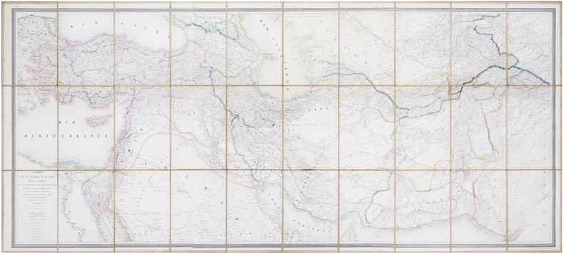 Carte de la Turquie d'Asie, de la Perse, de l'Afghanistan, du Belouchistan et de la grande Boukharie ; avec une partie des états voisins.. LAPIE ...