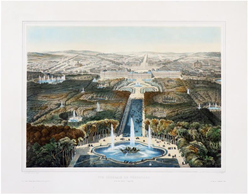[VERSAILLES] Vue générale de Versailles prise du bassin d'Appollon.. CHAPUY (Nicolas-Marie-Joseph).