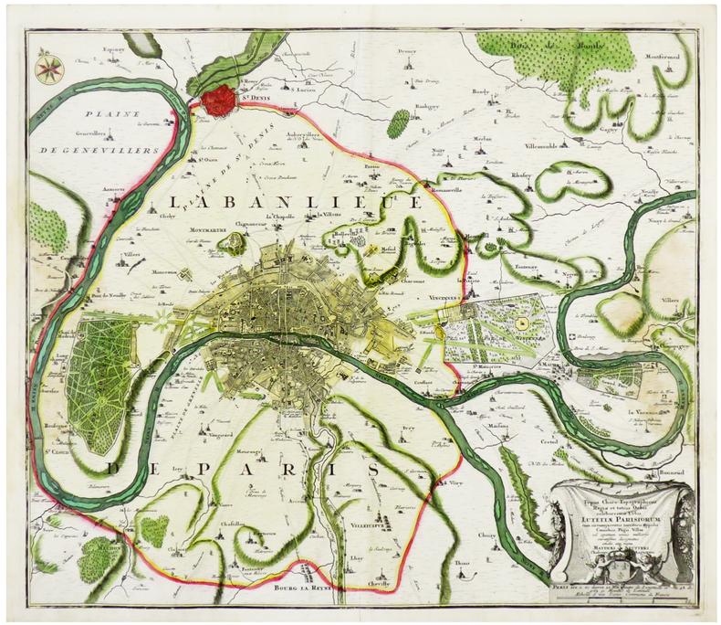 Typus choro-topographicus regiæ et totius orbis celeberrimæ urbis Lutetiæ Parisiorum cum circumjacentis territorii oppidis, cœnobiis, pagis, villis.. ...