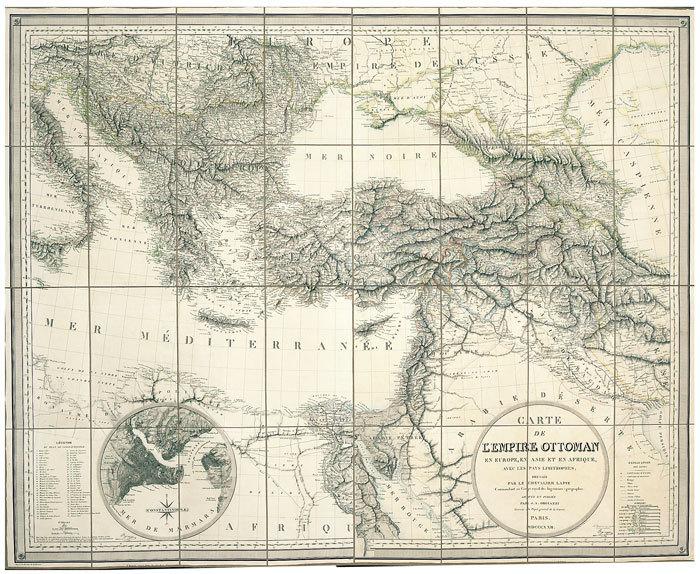 Carte de l'Empire Ottoman en Europe, en  Asie et en Afrique, avec les pays limitrophes.. LAPIE (Pierre, Capitaine);