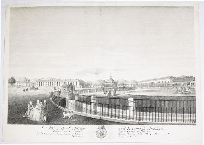 La Plaza de S. Antonio en el R. sitio de Aranjuez. Vista desde la entrada por el puente de Barcas.. AGUIRRE (Domingo de);GIL (Geronimo Antonio);