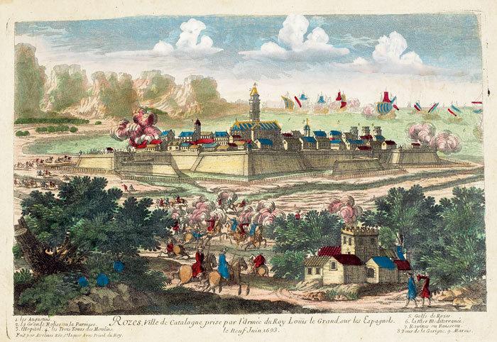 Rozes, ville de Catalogne prise par l'armée du roy Loüis le Grand, sur les Espagnols.. AVELINE (Pierre);
