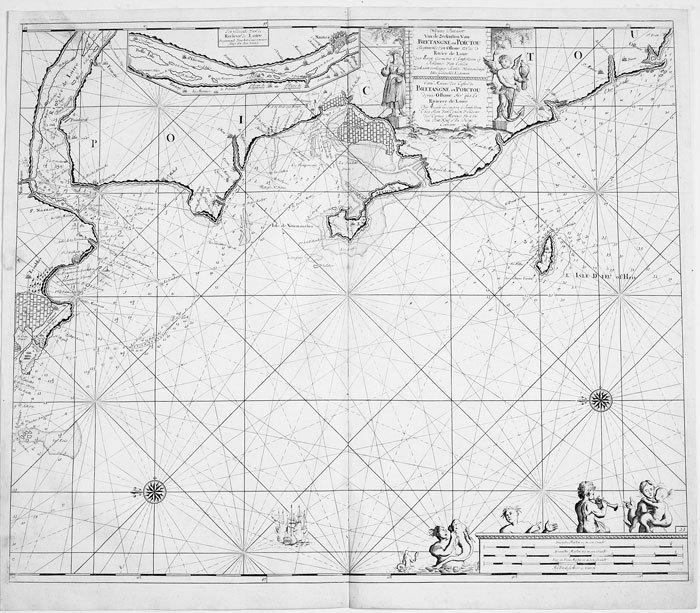 Nieuwe pascaart van de zeekusten van Bretangne en Poictou.. KEULEN (Johannes van);
