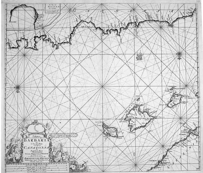 Paskaart voor en gedeelte der kust van Barbaria ... Catalonia ... Yvica, Majorca, en Minorca.. KEULEN (Johannes van).