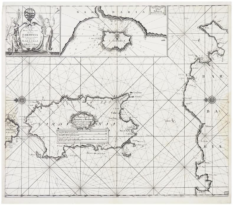 [SARDAIGNE] Pas-caart van de de zee kusten van't eyland Sardinia.. KEULEN (Johannes van).