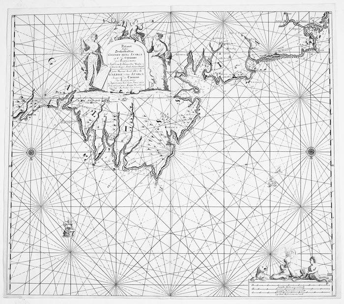 Pascaart van de zeekusten van Galissen.. KEULEN (Johannes van);