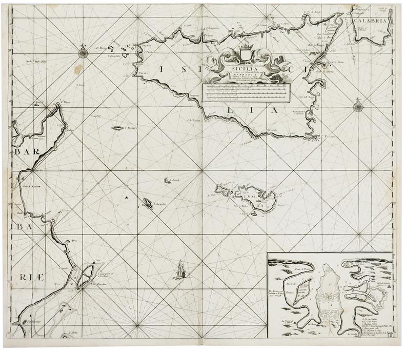 [SICILE] Nieuwe paskaert van de zee kusten van't eyland Sicilia.. KEULEN (Johannes van).