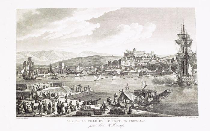 [TRIESTE] Vue de la ville et du port de Trieste, prise du Môle neuf.. CASSAS (Louis-François).
