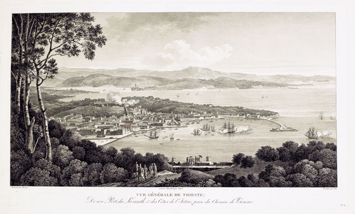 [TRIESTE] Vue générale de Trieste, de son port, du Lazareth & des côtes de l'Istrie, prise du chemin de Vienne.. CASSAS (Louis-François).