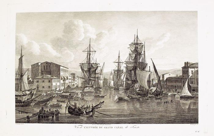 [TRIESTE] Vue de l'entrée du grand canal de Trieste.. CASSAS (Louis-François).