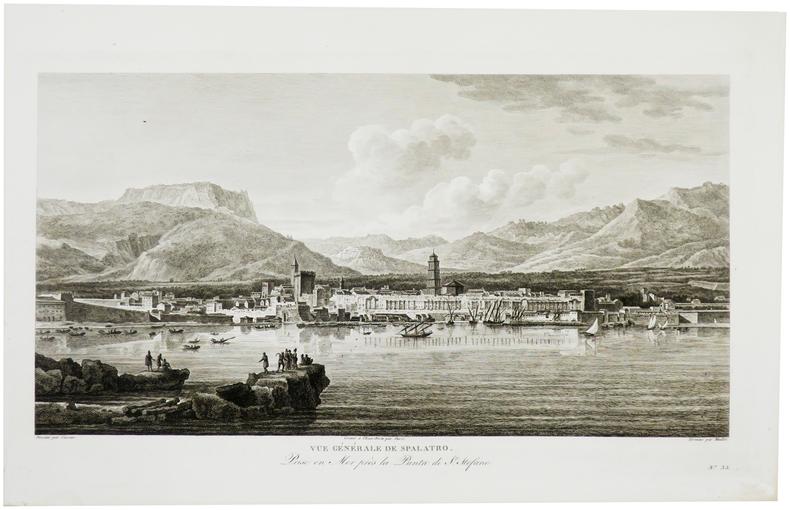 [CROATIE] Vue générale de Spalatro. Prise en mer près la Punta di St. Stefano.. CASSAS (Louis-François).