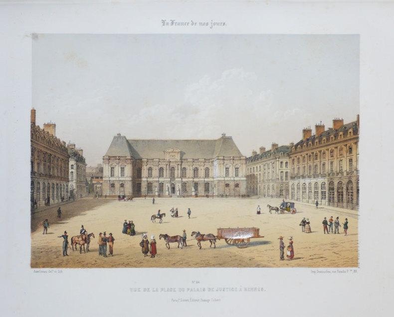[RENNES] Vue de la place du Palais de justice à Rennes.. ASSELINEAU (Léon-Auguste);