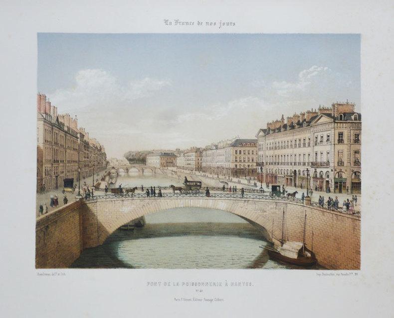[NANTES] Pont de la Poissonnerie à Nantes.. ASSELINEAU (Léon-Auguste);