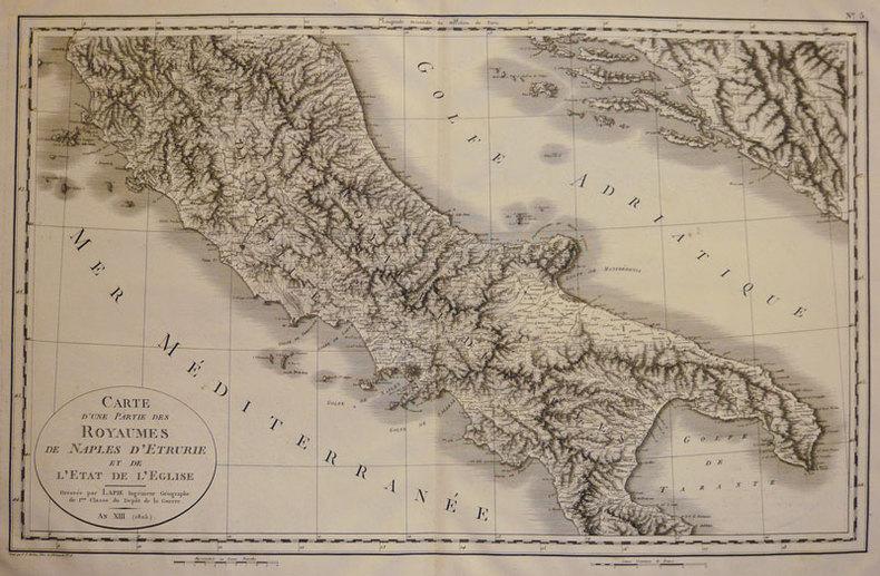 Carte d'une partie des royaumes de Naples d'Etrurie et de l'Etat de l'Eglise.. LAPIE (Pierre, Capitaine);