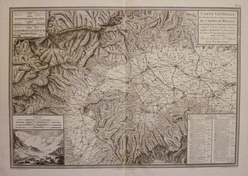 Carte générale des marches, positions, combats et batailles, de l'armée de réserve, depuis le passage du Grand St. Bernard, le 24 floréal An 8. ...
