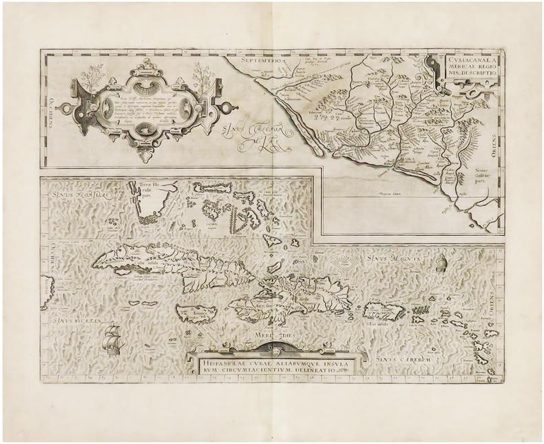 Hispaniolae, Cubae, aliarumque insularum circumiacientium, delineatio - Culiacanae, Americae regionis, descriptio.. ORTELIUS (Abraham).