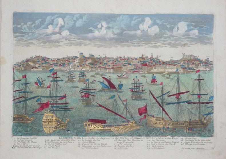 Lisbone, ville capitale du royaume de Portugal située à l'embouchure du Tage.. AVELINE (Pierre);