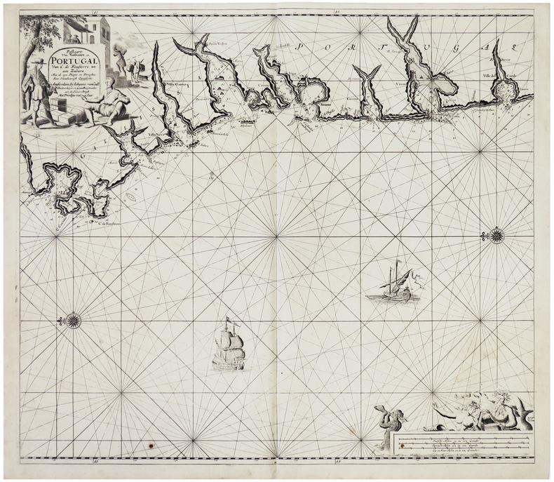Paskaart van Gallissien van C. de Finisterre tot aen Zurara.. KEULEN (Johannes van).