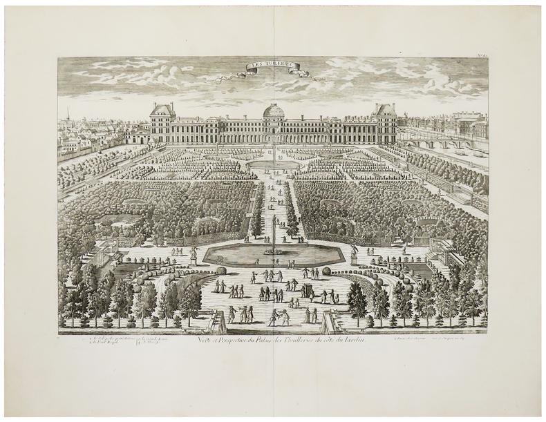 [JARDIN des TUILERIES] Veüe et perspective du Palais des Thuilleries du côté du jardin.. CHÉREAU (Jacques).