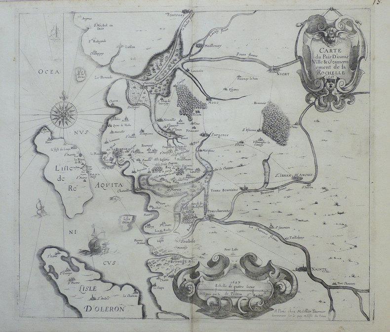 Carte du pais d'Aunis ville & gouvernement de La Rochelle.. TAVERNIER (Melchior);