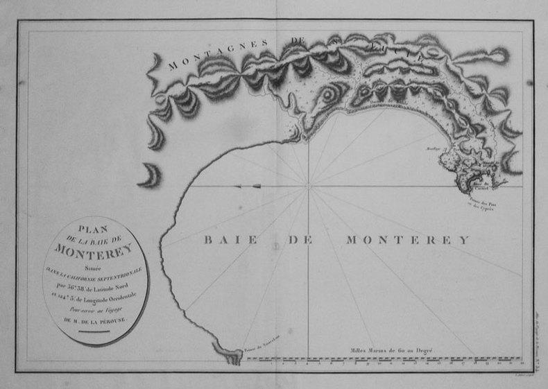Plan de la baie de Monterey située dans la Californie septentrionale.. LA PÉROUSE (Jean-François de Galaup, comte de);
