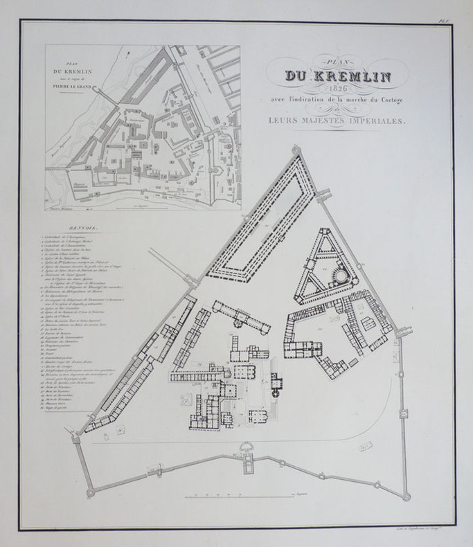 Plan du Kremlin 1826 avec l'indication de la marche du cortège de leurs Majestés Impériales.. ENGELMANN (Godefroy).