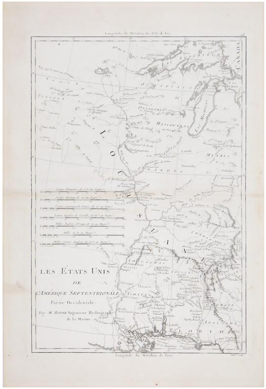 Les Etats Unis de l'Amérique septentrionale, partie occidentale.. BONNE (Rigobert).