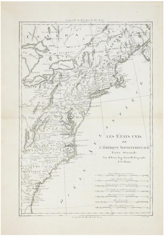 Les Etats Unis de l'Amérique septentrionale, partie orientale.. BONNE (Rigobert).