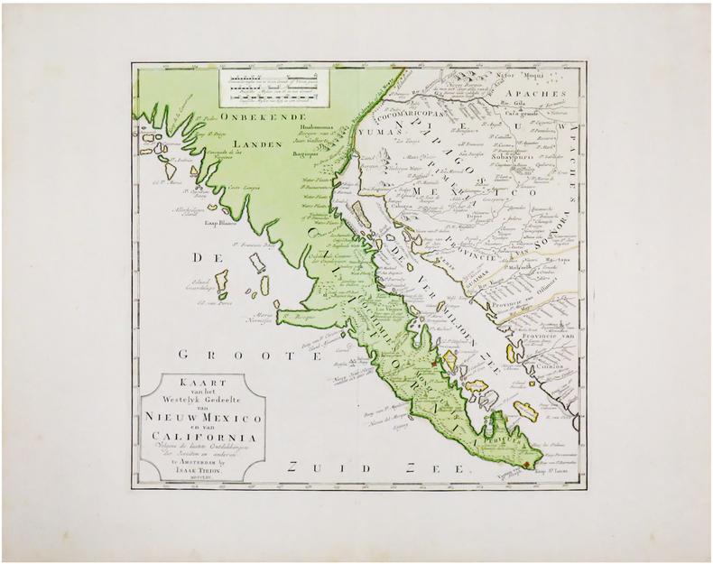[CALIFORNIE] Kaart van het westelyk gedeelte van Nieuw Mexico en van California.. TIRION (Isaak).