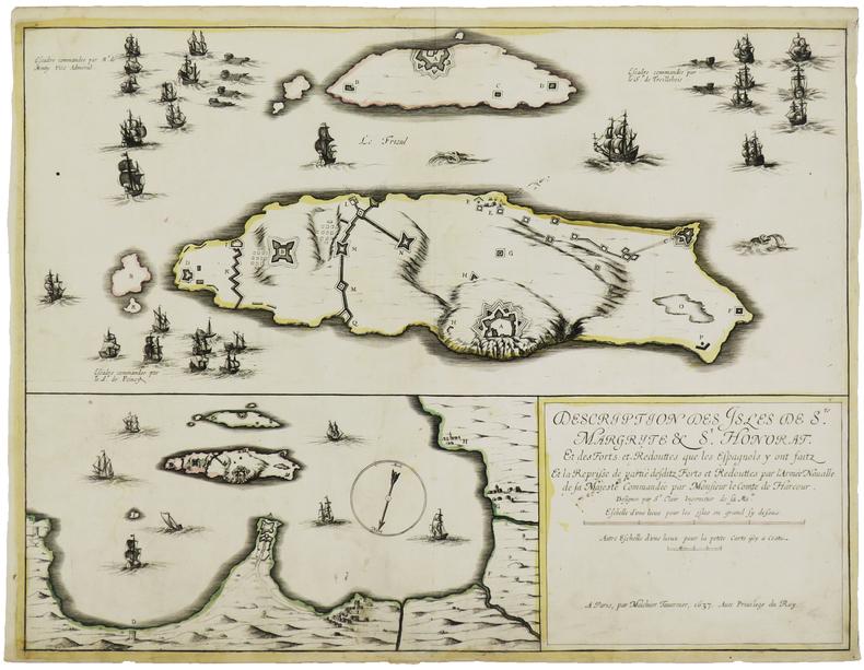 [ÎLES de LÉRINS]. Description des isles de Ste Margrite & St Honorat. Et des forts et redouttes que les Espagnols y ont faitz et la reprisse de ...