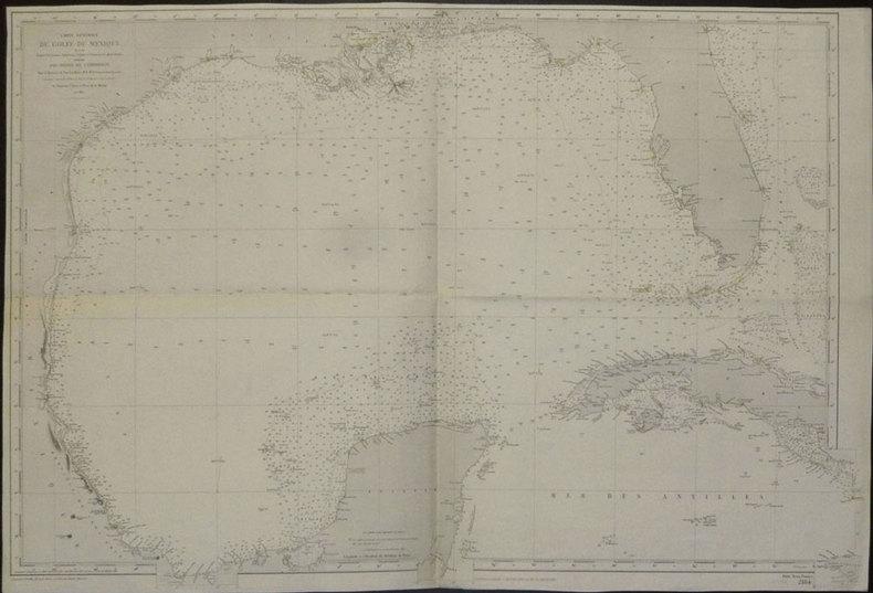 [TEXAS et FLORIDE] Carte générale du golfe du Mexique dressée d'après les travaux américains, anglais et français les plus récents.. DEPOT des CARTES ...