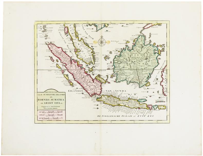 [SUMATRA/BORNEO/JAVA] Nieuwe kaart van de Sundasche eilanden als Borneo, Sumatra en groot Java &c.. TIRION (Isaak).