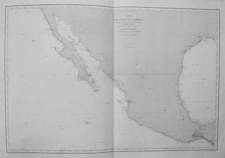 [CALIFORNIE/TEXAS/MEXIQUE] Carte de la côte occidentale d'Amérique comprise entre le port de San Diego et le golfe de Tehuantepec (Vlle Californie, ...