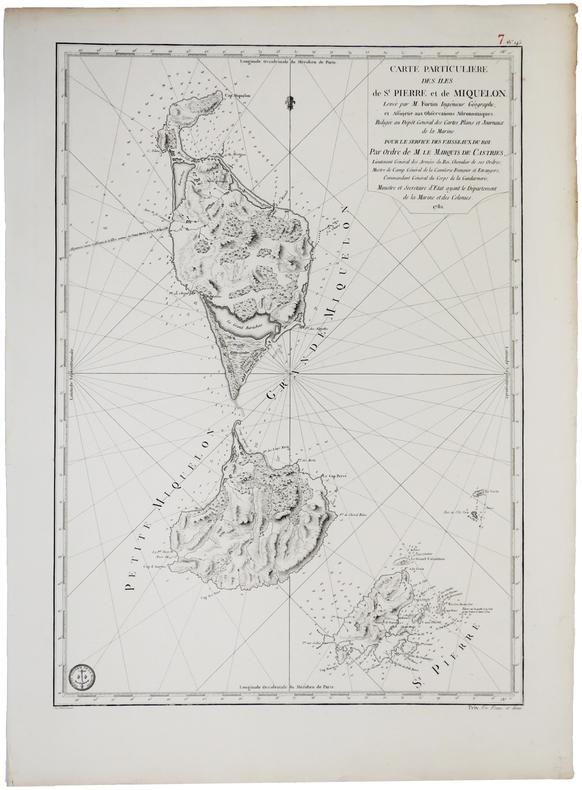 [SAINT-PIERRE ET MIQUELON] Carte particulière des îles de St. Pierre et de Miquelon.. DEPOT GENERAL des CARTES PLANS et JOURNAUX de la MARINE.
