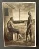 """Photographie originale du tableau """"Les pêcheurs"""" de Carlo CARRA par le Studio d'arte fotografica Gianni Mari à Milan.. CARRA (Carlo)"""